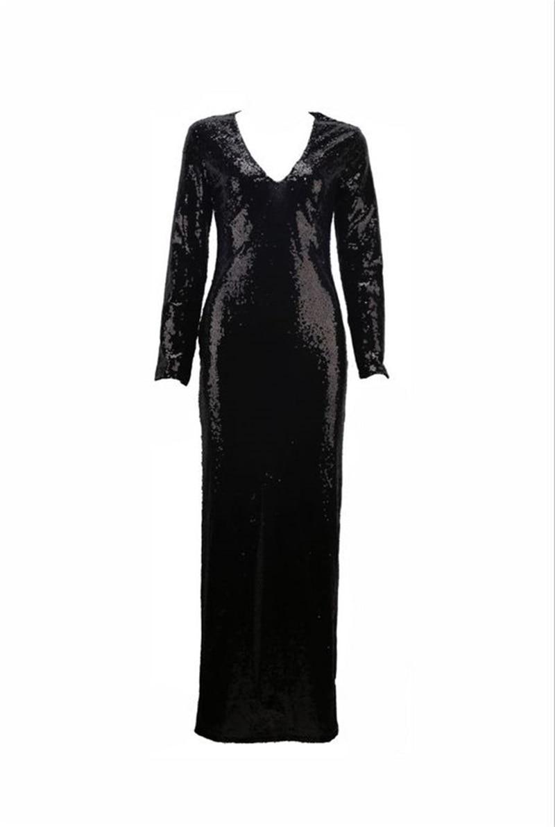 Designer Piste Robes Manches Robe En Paillettes Tenues À 2018 Sexy Noir Maxi Longues Nouveau Gros Cou Fendue Moulante V De Femmes Partie E6R0w6xnrq