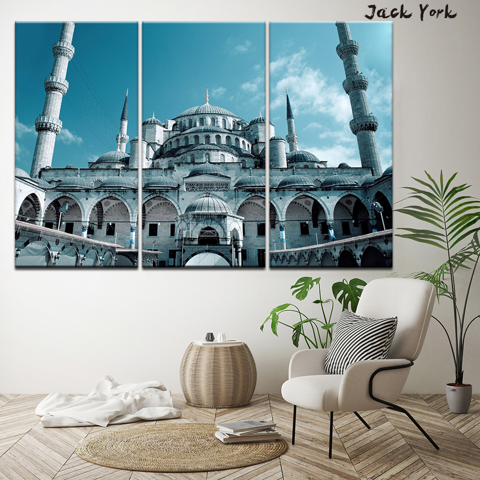 Canvas Painting bule Sultan Ahmed Mosque 3 Pieces Wall Art Painting Modular Wallpapers Poster Print for living room Home Decor in Painting Calligraphy from Home Garden