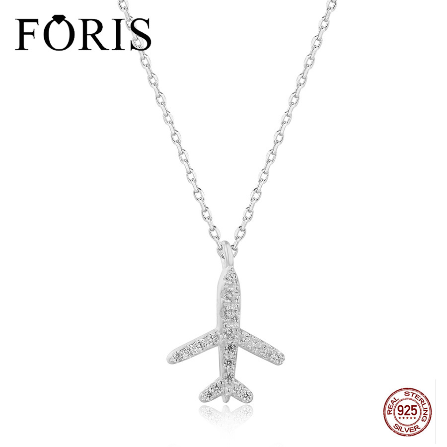 FORIS Lovely 925 Sterling Silver Zircon Airplane Pendant Fit Chain Necklace For Friend Gift PN009 image