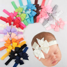 Yundfly 20 Colors Ribbon Bow Rhinestone Newborn Headband Swallowtail Bow Kids Headband Hair Bows Baby Photo Shoot(China)