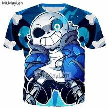 Funny Design Game Undertale Cute Sans 3D Print Hip Hop T shirt Men Casual Streetwear T-shirt Tee Boys Blue Tshirt Mens Clothes