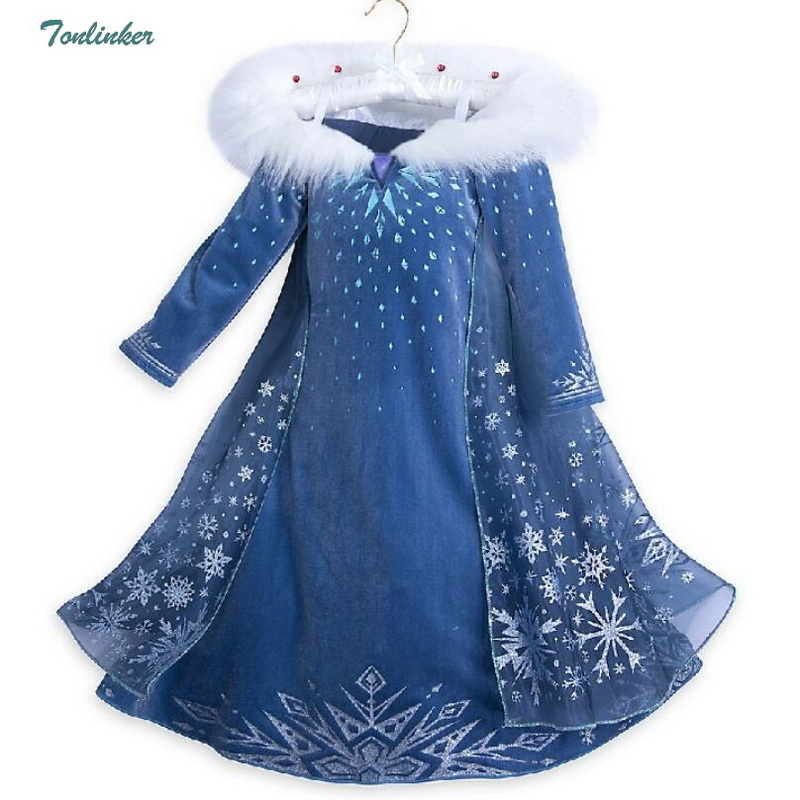 Girls Snow Queen Elsa Dress Up Costumes With Cape Christmas Children Snowflake Hooded Princess Cosplay Dresses Blue Winter 2-10Y