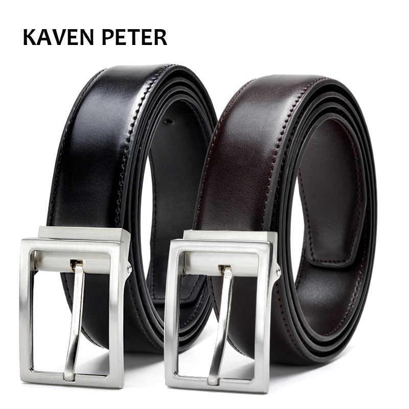 Cinturones de hombre de Metal dorado de cuero genuino para hombre correa de lujo  cinturón masculino c6a282883980