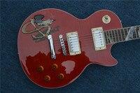 İnsan CG Özel Fabrika Dükkan Kırmızı Alevler Üst Oyma Abalone Kakma Yılan Snakepit Slash LP Standart Elektro Gitar Ücretsiz Kargo