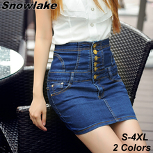 Snowlake 2017 New Plus Large S-4XL High Waisted Denim Skirt Female Waist Slim Denim Pencil Sexy Skirt