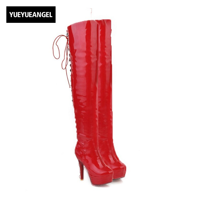 2018 Women High Heel Shoes Patent Leather Lace Up Lady Sexy Over The Knee Boots Nightclub Party Shoes Black Red White Colour new fashion women shoes pointed toe patent leather lady high heel boots for women sexy over the knee boots nightclub pumps