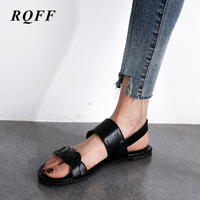 Woman Flat Sandals Big Size 10 Strap Slides Womens Sandal with Pu Feathers Open Flat Shoes Casual Lady Shoes Summer Black Brown
