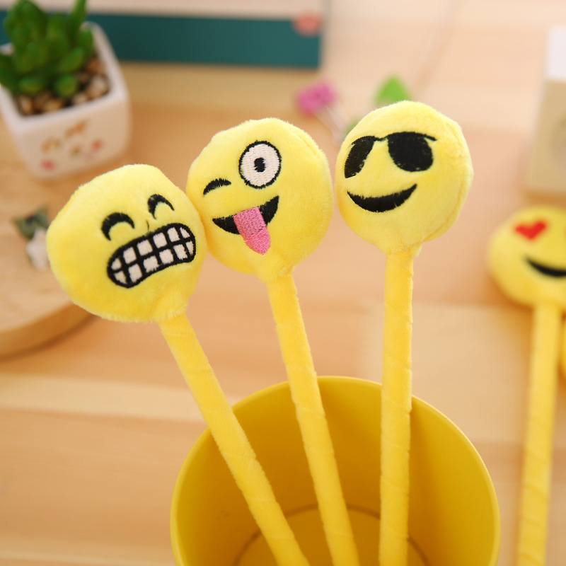 1Pcs Cute Yellow Plush Expression Face pack Ballpoint Pen Kawaii Cartoon Laugh Shy Teeth Ball Pen Korean Stationery Gift E0190