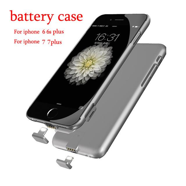 Batería externa del cargador portátil power bank caso de la cubierta para iphone 7 más iphone 6 6 s cargador de batería del banco de potencia de copia de seguridad caso