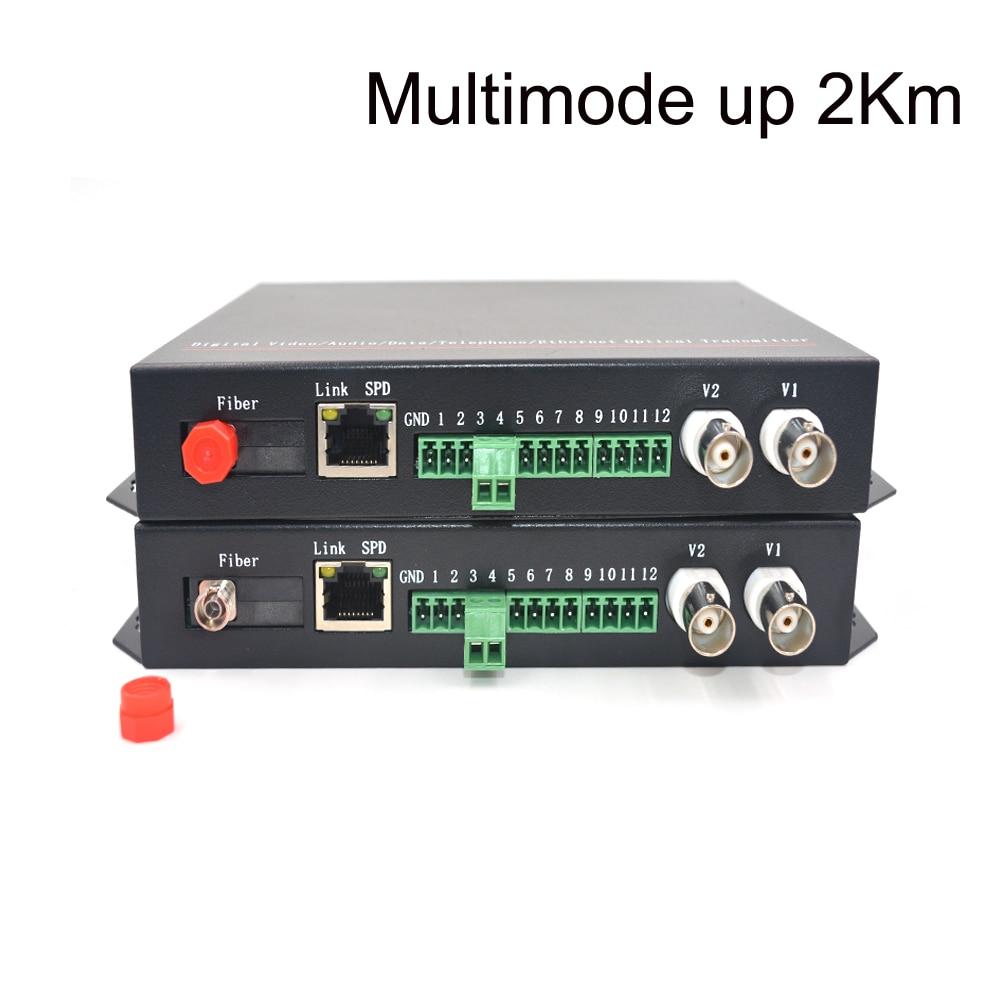 Video/Ethernet/RS485 Data Fiber optic media converters (Transmitter and Receiver one kit)- FC Multimode up 2Km for CCTV