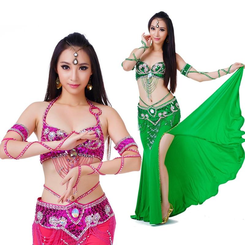 Traje de danza del vientre S / M / L 3 piezas Sujetador y cinturón y - Ropa de danza y vestuario escénico