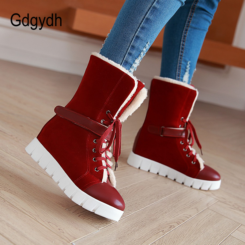 Gdgydh Woman Winter Snow Boots Wedges Comfortable Female Rubber Sole Shoes Large Size 43 Lacing Warm Shoes Women Good Quality 2017 female warm snow boots large size 41 cotton winter shoe for woman soft comfortable outdoor footwear high quality