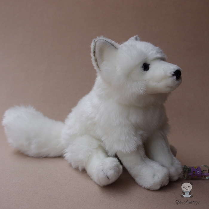 High Quality Plush Stuffed Doll Toy White Fox Wildlife Silver Foxes Simulation Gift Toys
