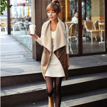Autumn Fashion Turn Down Collar Waistcoat Women Coat Vest Jacket Casual Warm Sleeveless Faux Fur Long Basic