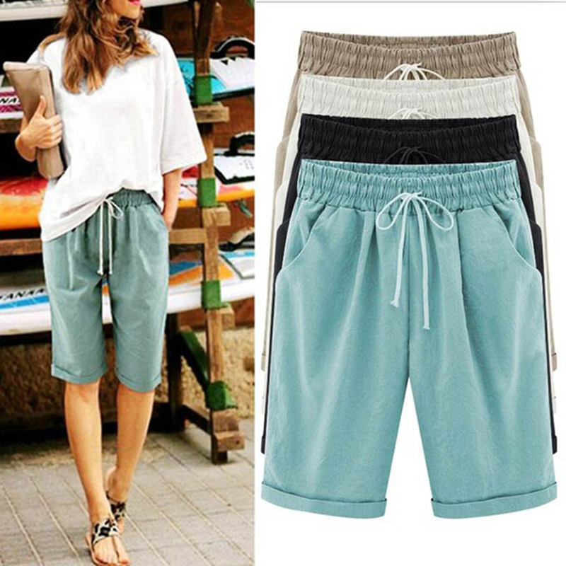 Women's Solid High Waist Harem Pants Capris Plus Size 6XL Summer Beach Womens Trousers Spring Black Casual Loose Women Clothes