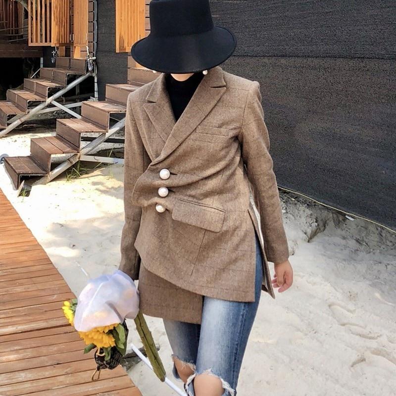 Automne Laine Perles Longues Split Mode Femme Femmes 2019 À Irrégulière Blazer Vintage Manteau Nouveau Costume Plaid Manches Side De 551xwT