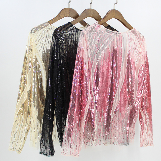 2018 Summer Women Long Sleeve Embroidery Sequin Bead Shirt Sexy Sheer  See-Through Gauze Lace Blouse Mujer Sexy Body Top Femme 85e82ec08119