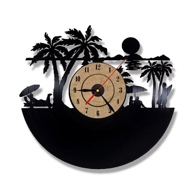 Beach views laser etched vinyl lp record led lighting wall clock 3d beach views laser etched vinyl lp record led lighting wall clock 3d decorative record clock creative handmade digital wall clock in wall clocks from home aloadofball Image collections