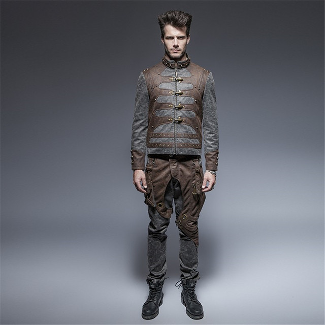 Steam Punk Men Short Jacket Washed Water Plane Buckle Coffee Casual Jacket Winter Stand-up Collar Leather Outwear
