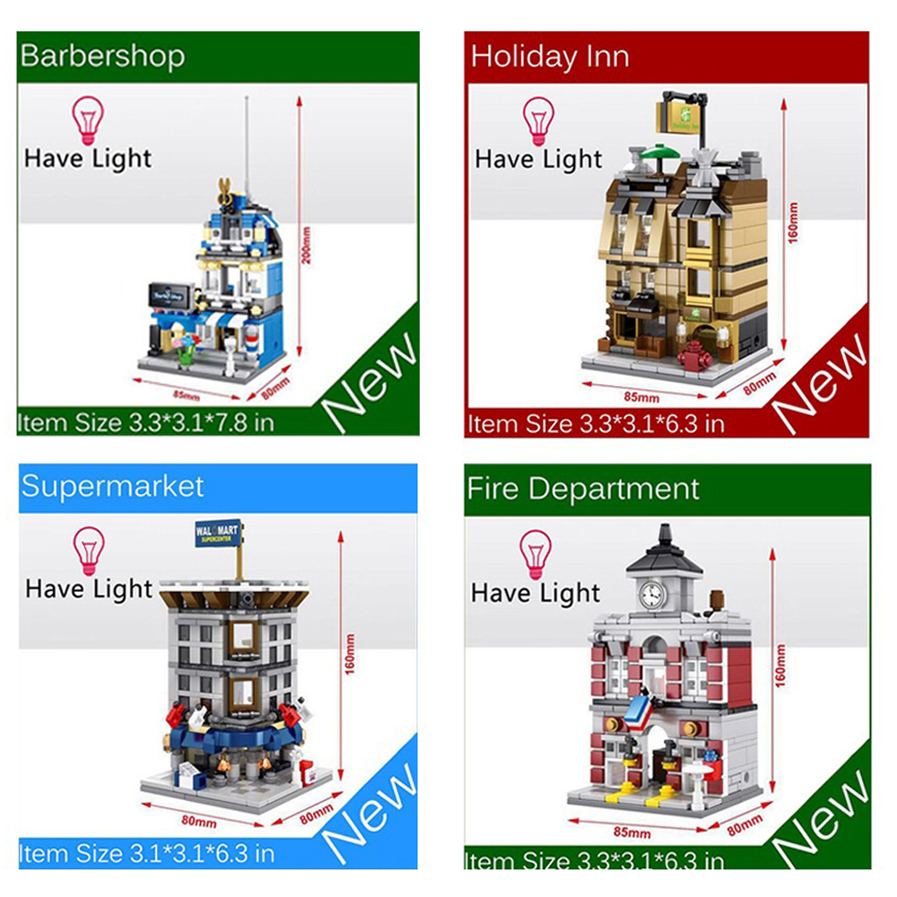 4pcs/set Mini Street View Building Blocks Bricks Toys MOC Barber Shop Fire Station Holiday Inn Supermarket Blocks Toys Kids Gift holiday inn resort phuket mai khao beach 4 о пхукет