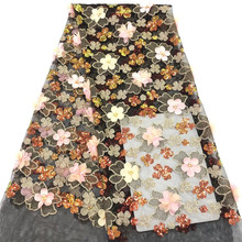 High Quality 3d Beaded African Lace Fabrics Sequins Nigerian Fabric For Women New Design French tulle FabricHX1657-1