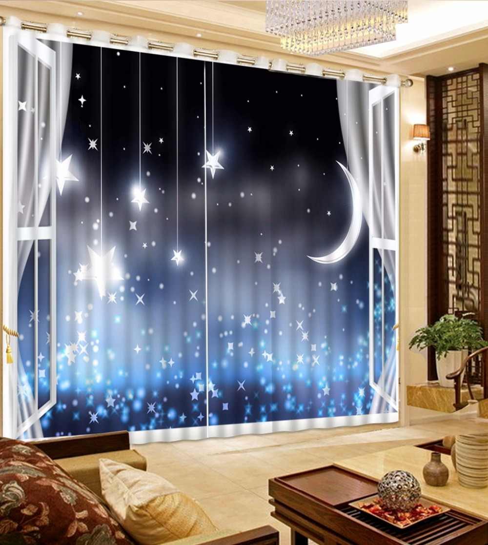 Blue Sky Thickness 3D Curtains For Bedroom Custom Modern Children Curtain star moon Window Decoration Blackout Drapes