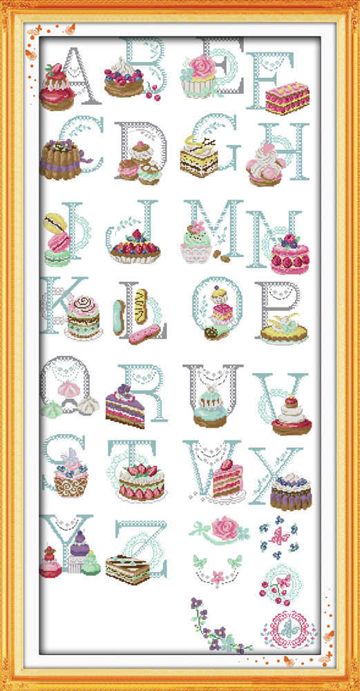 huge size needlework cake letters pattern cross stitch embroidery kit unique gift for kids diy cross