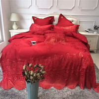 4/7pcs Lace bedcover set red luxury wedding royal bedding sets queen king size duvet cover bed sheet set Pillow shams cushion 36
