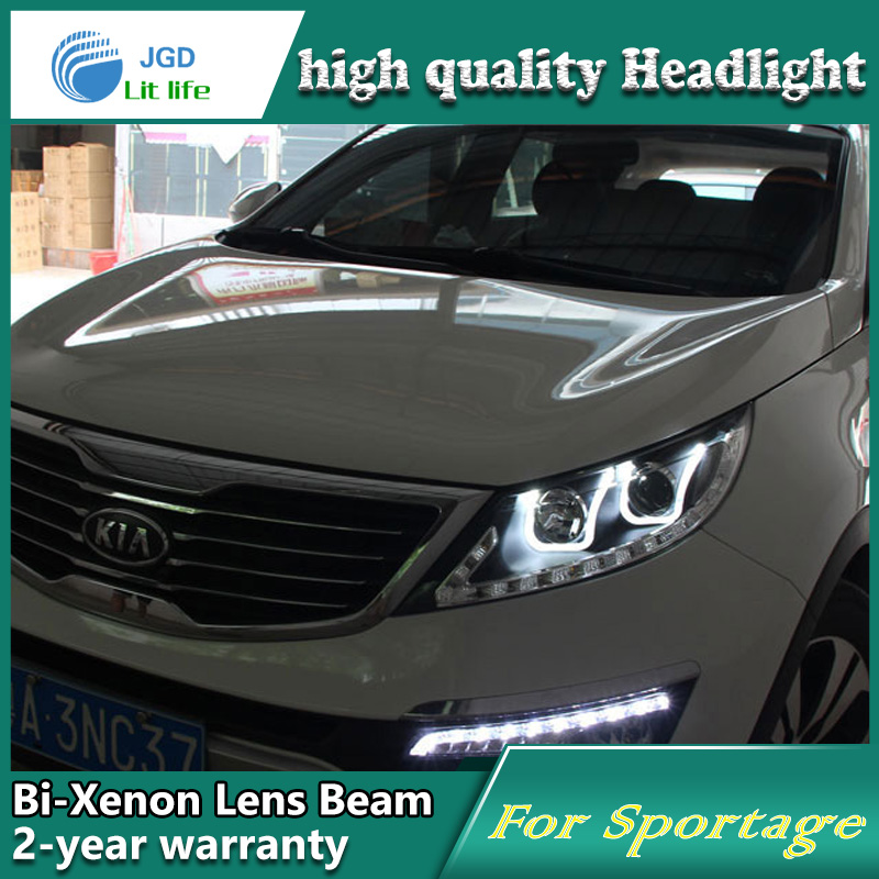 Car Styling Head Lamp case for Kia Sportage 2009-2011 Headlights LED Headlight DRL Lens Double Beam Bi-Xenon HID car Accessories hireno headlamp for 2009 2011 hyundai genesis coupe headlight assembly led drl angel lens double beam hid xenon 2pcs