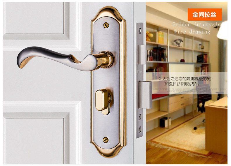 Free shipping Dook lock Copper cylinder Double tongue Bearing mute Bedroom Toilet  Home gate Lock  Handle with lock Metal lock triple metal double gate tm dg mosfet