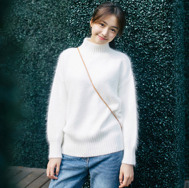 new Europe women 100 real mink cashmere sweater female turtleneck sweater loose style fluffy sweater free