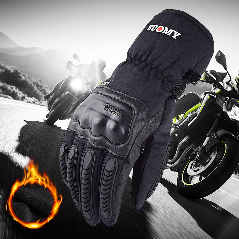 Новые Мотоциклетные Перчатки SUOMY 100%, водонепроницаемые зимние теплые мотоциклетные перчатки с сенсорным экраном, мужские защитные перчатк...