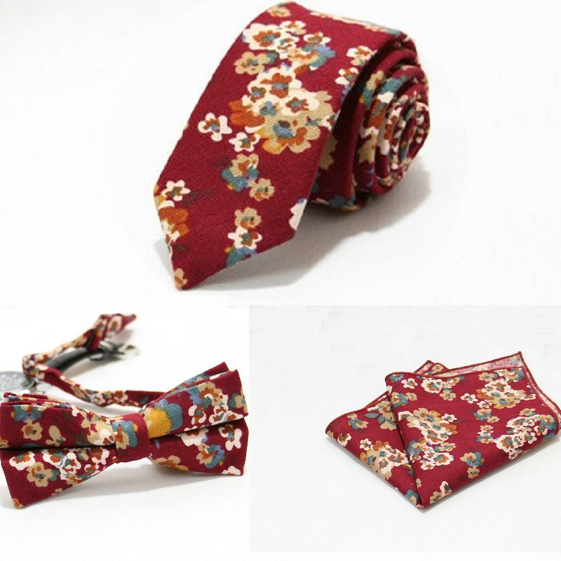 fashion set floral necktie bow tie handkerchief for men leisure cotton 6cm ties set standard bow tie pocket square butterfly