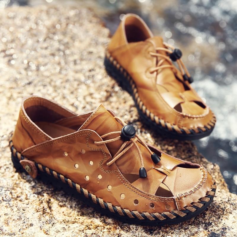 Frank Männer Casual Schuhe Sommer Echtem Leder Klassische Romen Stil Solide Erwachsene Männer Schuhe Atmungsaktiv Hohe Qualität Daliy Männer Sandalen Exquisite (In) Verarbeitung