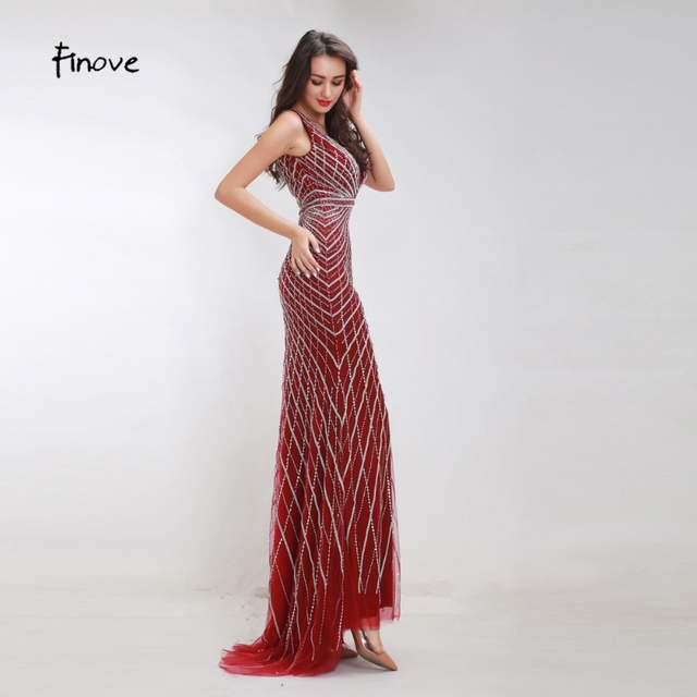 4b92f62f3a US $155.54 23% OFF Finove Heavy Beading Evening Dresses Long 2019 New  Styles Sexy Big V Neck Backless Crystals Floor Length Party Dresses For  Women-in ...