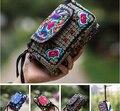 Nova bordados étnicos bolsas bordadas Embreagem caso chave bolsa da bolsa mini cartões de telefone Moedas saco do mensageiro do Ombro