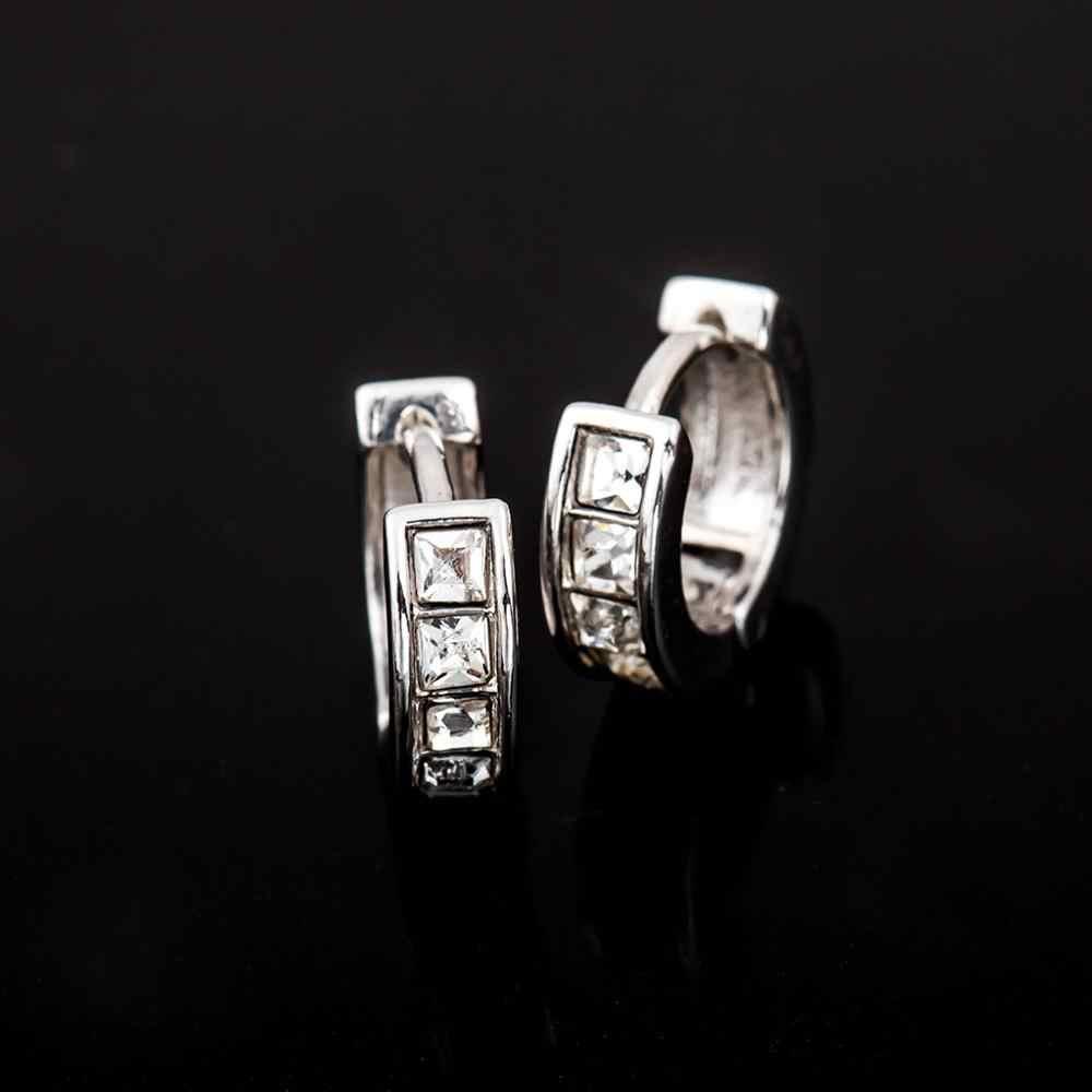 Винтажные женские круглые серьги из кубического циркониевая Сережка с белым камнем, роскошные серьги в форме колец, ювелирные изделия