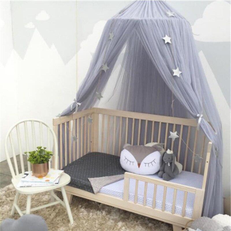 Круглый детская кровать москитная сетка купол висит хлопок кровать с балдахином Москитная сетка Шторы для гамак для маленьких детей чтения...