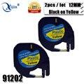 2 PCS/Lot Compatible DYMO Letratag plastic tape 12mm black on yellow dymo LT 91202 for dymo letratag printer