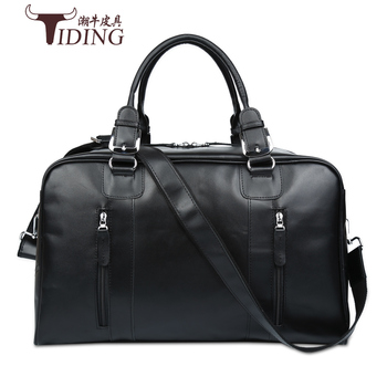 цена на travel bags for man cow leather 2017 new black fashion brand men business casual genuine leather big travel duffle handbags bags