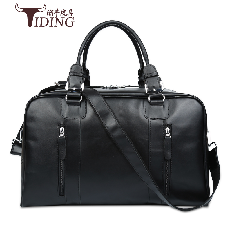 travel bags for man cow leather 2017 new black fashion brand men business casual genuine leather big travel duffle handbags bags