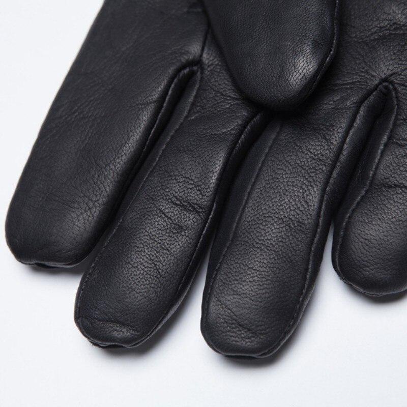Gants de luxe en cuir de vache véritable homme femme vraie fourrure de mouton gants de conduite chauds mitaines de petit ami d'hiver en gants d'italie - 5
