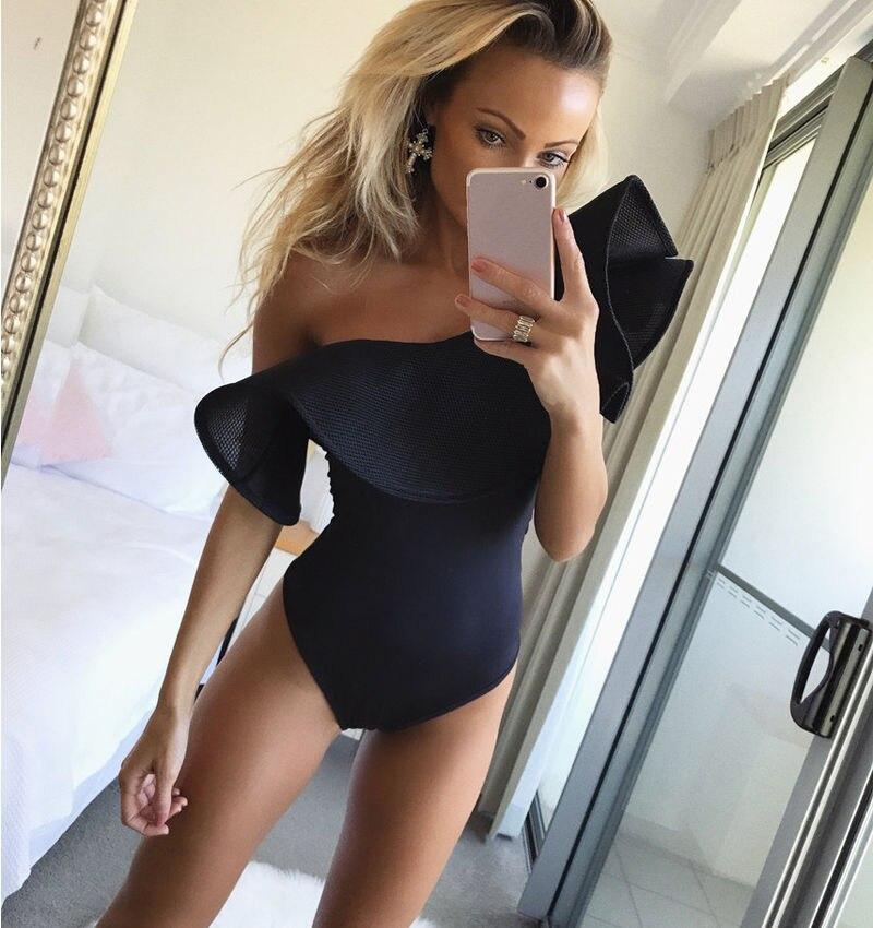 2017 New Hot Sale Women Sexy One Shoulder Ruffled Bodysuit Leotard Tops Romper Jumpsuit swimwear ribbon tie shoulder bodysuit