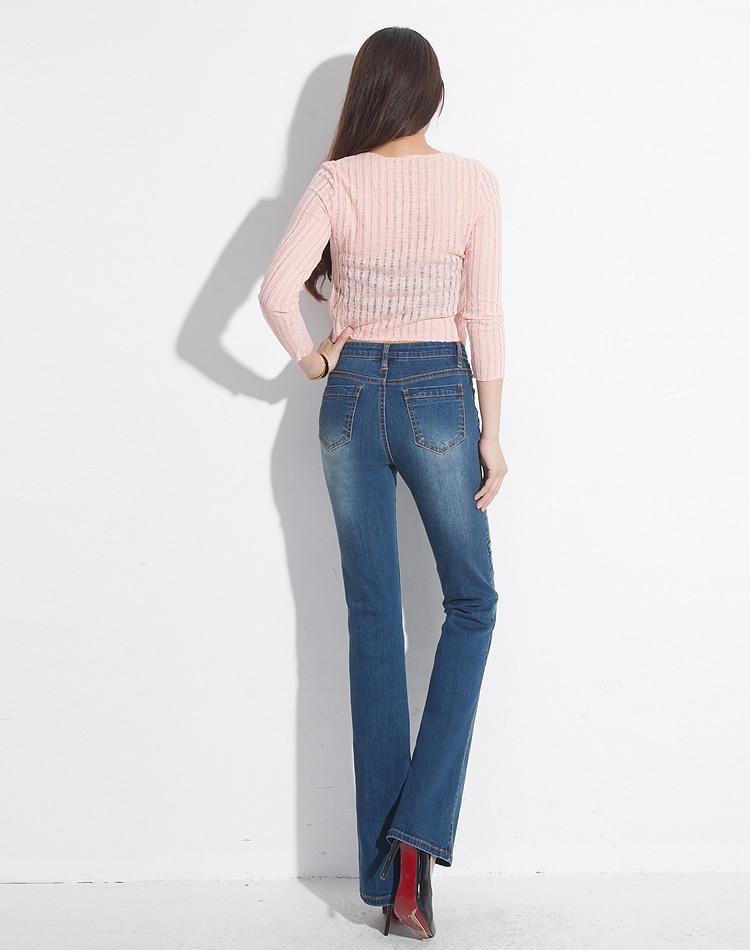 Avec Femmes Stretch Brodé Pantalon Été Jeans Automne Blanchis 2017 Broderie Denim Femelle Floral Printemps Flare Mince Y5Otq5w