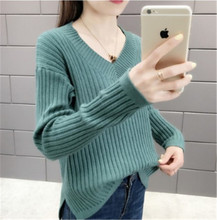 Autumn outfit new v-neck pure color knits pullovers render han edition loose knitting women long sleeve blouse make more winter fashion knitting maternity dress render han edition mom gradient even clothes