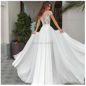 Image 3 - Side Slit A Line Boho Wedding Dresses Sexy Sheer High Neck Short Sleeves Chic Lace Appliques Chiffon Bridal Gowns Buttons Back