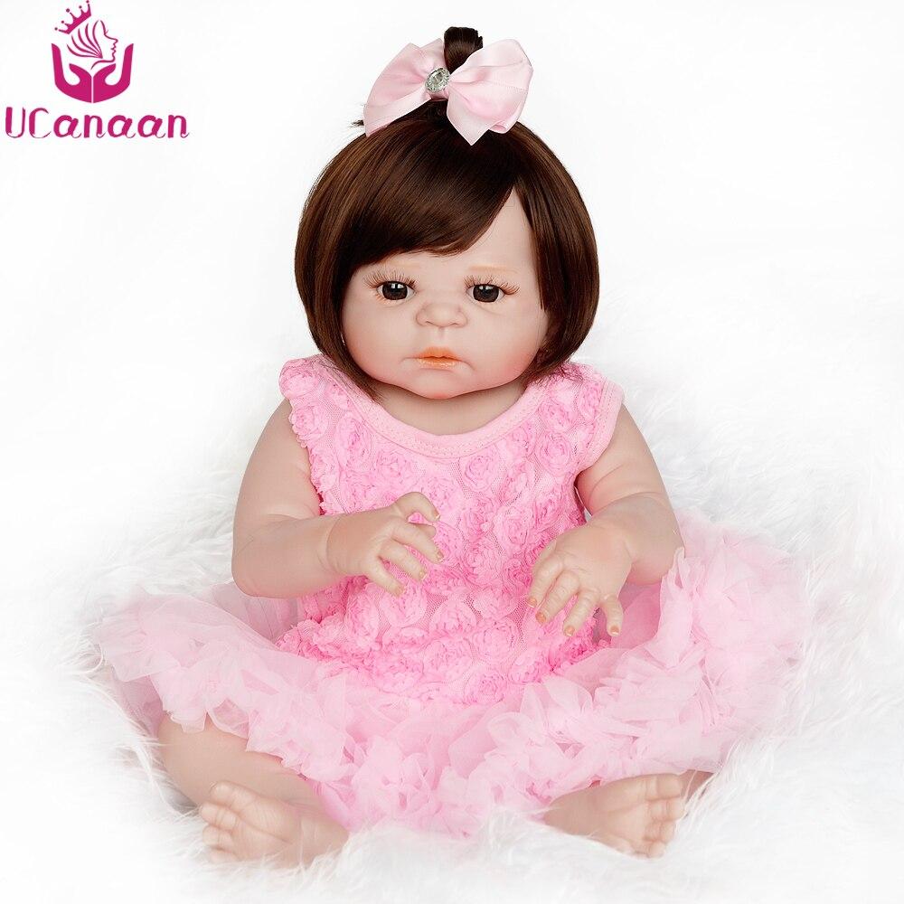 UCanaan 22 ''/55 센치메터 전체 실리콘 다시 태어난 인형 갈색 눈 긴 머리 소녀 인형 핑크 드레스 귀엽다 장난감 어린이 Brinquedos