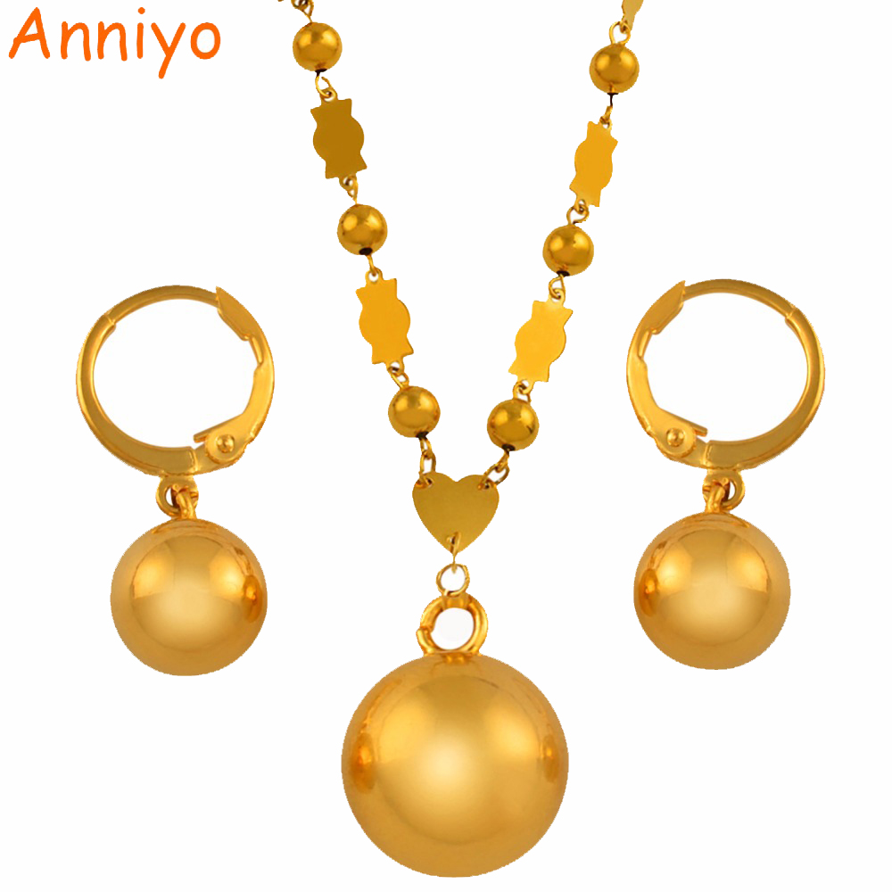 Anniyo Micronesia Jewelry sets Beads Ball Pendant Necklace Earrings Women Round Bead Chain Marshall Jewellery PNI Gifts #139506Anniyo Micronesia Jewelry sets Beads Ball Pendant Necklace Earrings Women Round Bead Chain Marshall Jewellery PNI Gifts #139506