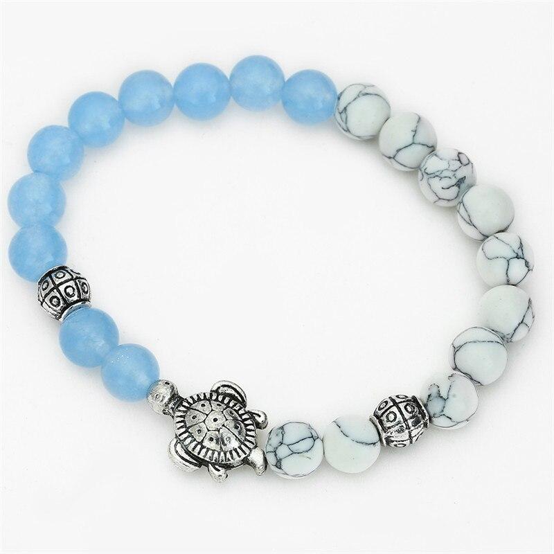 New Summer Style Turtle Charm Bracelets 8mm Lava Howlite Quartz Stone Tortoise Bracelets for Women Pulseira Feminina in Charm Bracelets from Jewelry Accessories