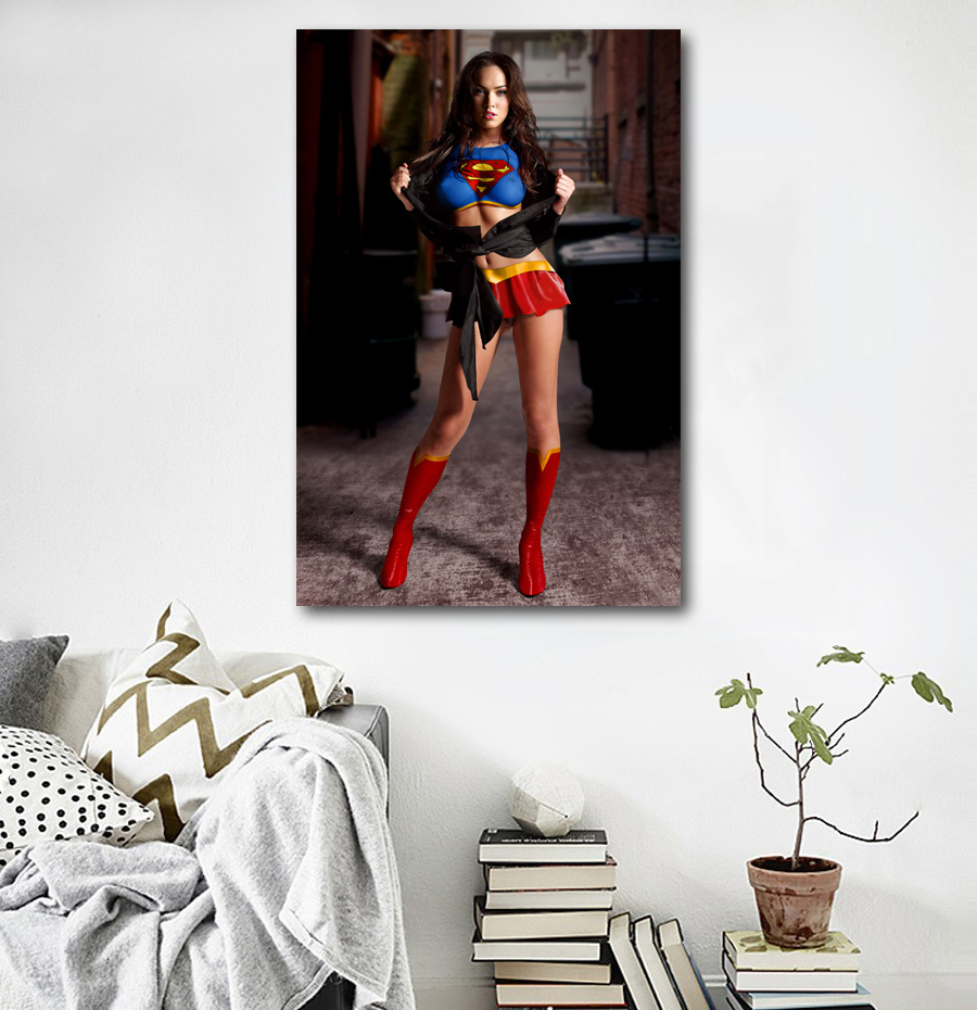 Wall Art Picture Sexy Women Megan Fox Super Girl Body Art Posters and Prints Canvas Art Paintings For Room Decor 2